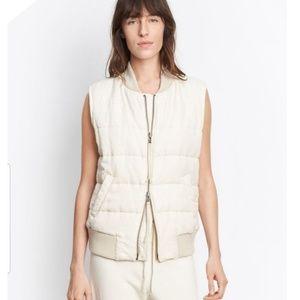 VINCE quilted linen ivory zip front vest